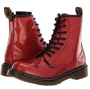 Dr. Martens Kid's Red Patent Glitter Delaney Boot
